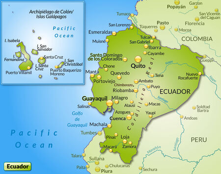 guayaquil: Map of ecuador as an overview map in green Illustration