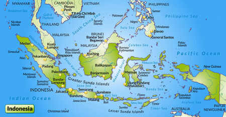 cartographer: Map of Indonesia as an overview map in green