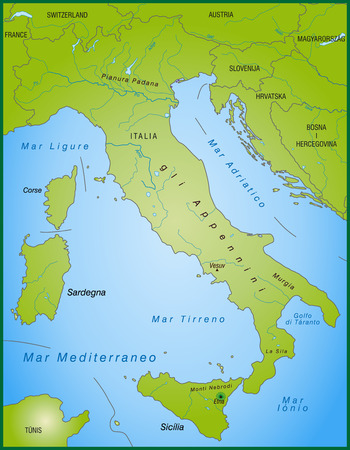 surrounding: Map of Italy as an overview map in green