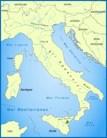 overview: Map of Italy as an overview map in green