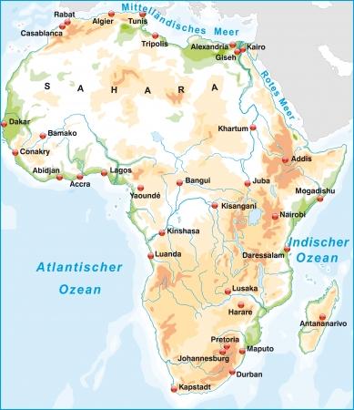 Kaart van Afrika als een overzichtskaart met hoogte lagen