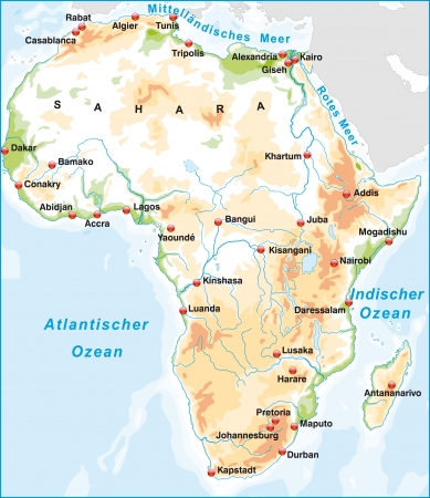 site map: Map of Africa as an overview map with hight layers
