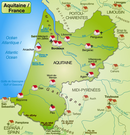 Map of aquitaine as an overview map in green