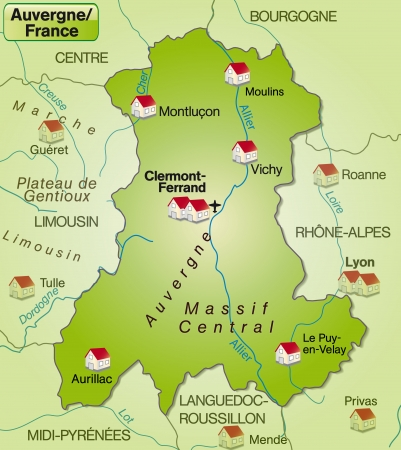Map of auvergne as an overview map in green Vector