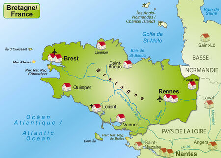 Map of Brittany as an overview map in green Vector