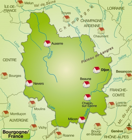 Map of Burgundy as an overview map in green