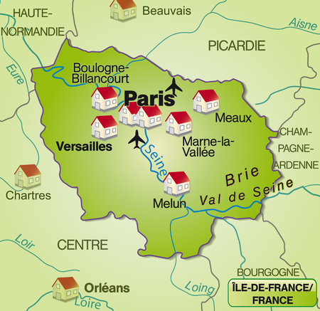 versailles   france: Map of Ile-de-France as an overview map in green