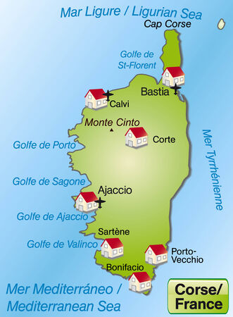 ajaccio: Map of corsica as an overview map in green Illustration