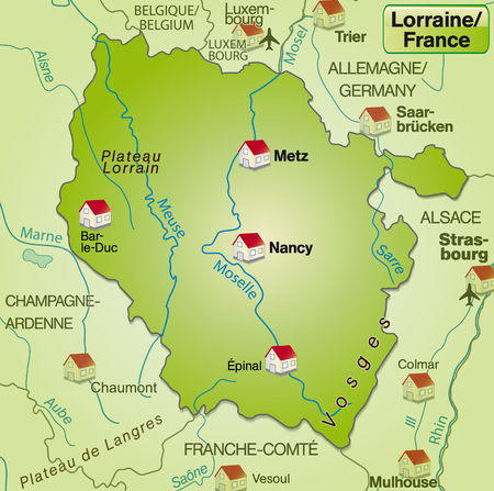 Map of lorraine as an overview map in green Vector