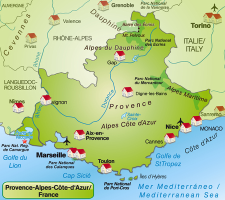 d���azur: Map of Provence-Alpes-Cote d Azur as an overview map in green