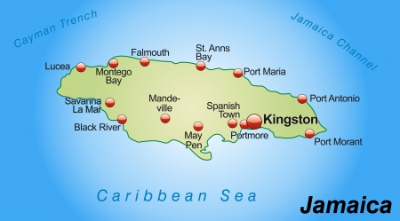 kingston: Map of Jamaica as an overview map in pastel green