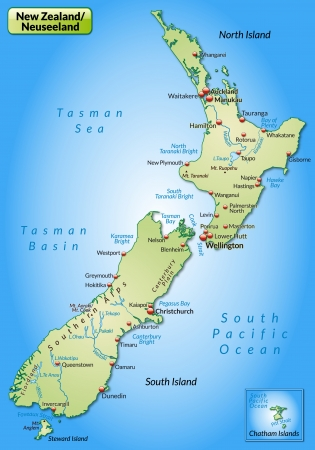 cartographer: Map of New Zealand as an overview map in pastel green Illustration
