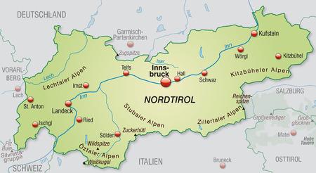 チロル: パステル グリーンの概要マップとしてチロルの地図