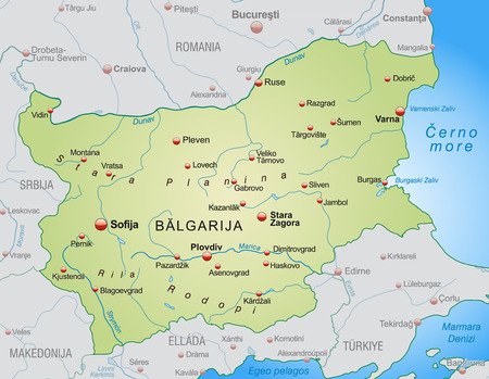 site map: Map of Bulgaria as an overview map in pastel green