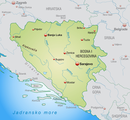 bosnia and hercegovina: Map of Bosnia and Herzegovina as an overview map in pastel green Illustration