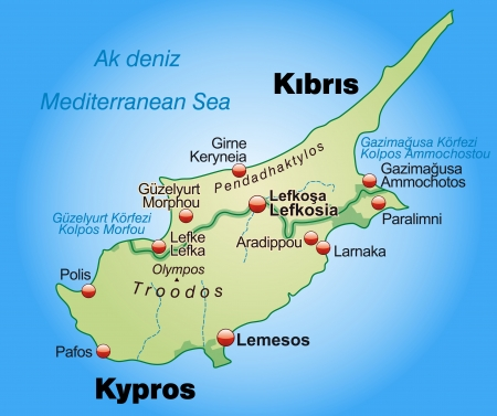 cyprus: Map of Cyprus as an overview map in pastel green Illustration