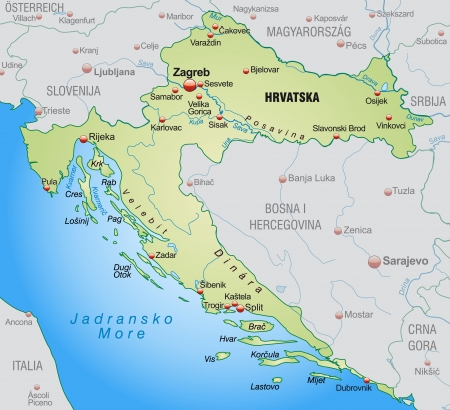 Map of Croatia as an overview map in pastel green