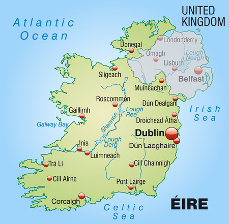 dun: Map of Ireland as an overview map in pastel green