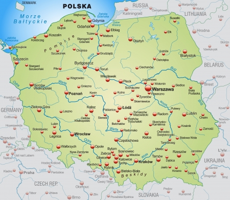Map of Poland as an overview map in pastel green