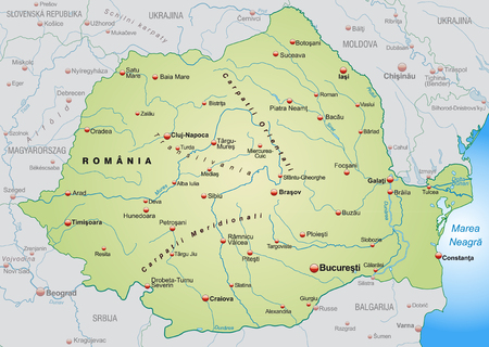 romania: Map of Romania as an overview map in pastel green