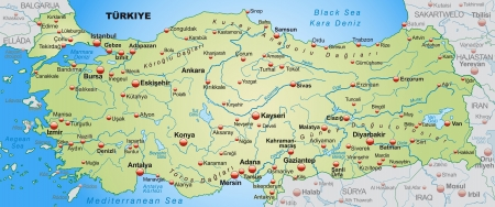 Map of Turkey as an overview map in pastel green Vector