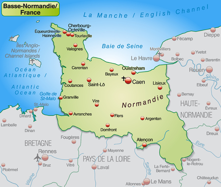 basse normandy: Map of Lower Normamdy as an overview map in pastel green