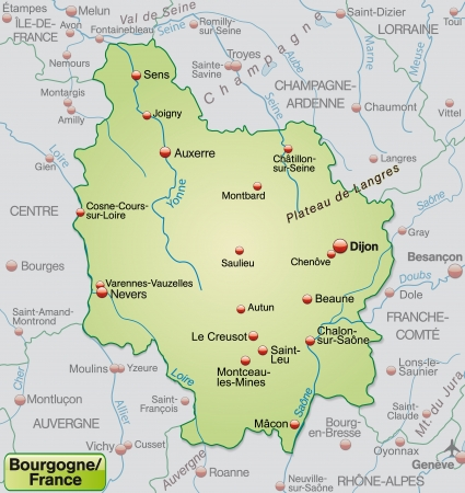 Map of Burgundy as an overview map in pastel green