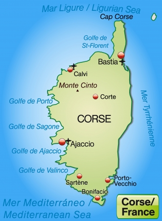 Map of corsica as an overview map in pastel green Vector