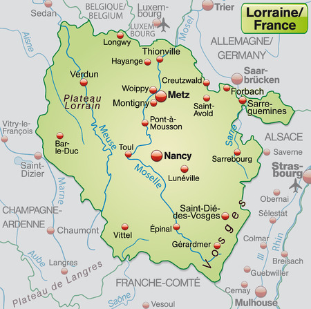 Map of lorraine as an overview map in pastel green