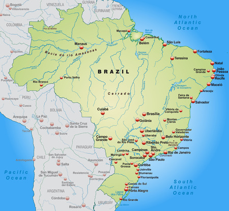 alegre: Map of Brazil as an overview map in pastel green