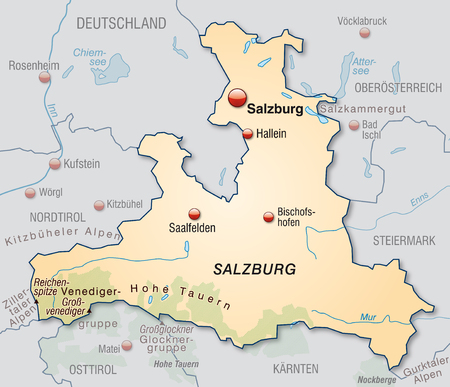 cartographer: Map of salzburg as an overview map in pastel orange Illustration