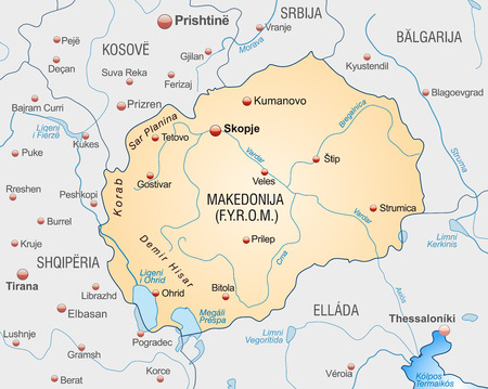 overview: Map of Macedonia as an overview map in pastel orange