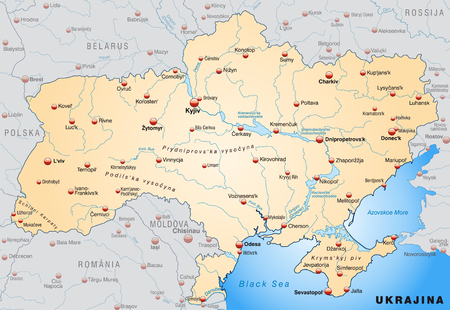 overview: Map of Ukraine as an overview map in pastel orange