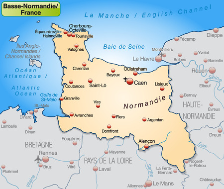 basse normandy: Map of Lower Normamdy as an overview map in pastel orange