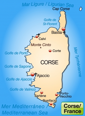 ajaccio: Map of corsica as an overview map in pastel orange
