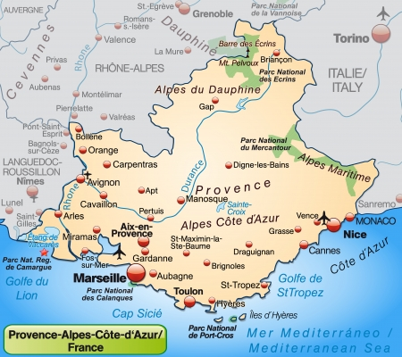 nice france: Map of Provence-Alpes-Cote d Azur as an overview map in pastel orange