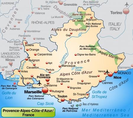 Carte de Provence-Alpes-Côte d'Azur comme une carte d'ensemble en orange pastel
