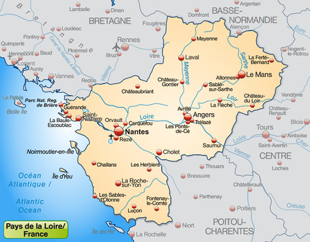 Map of Pays de la Loire as an overview map in pastel orange Illustration