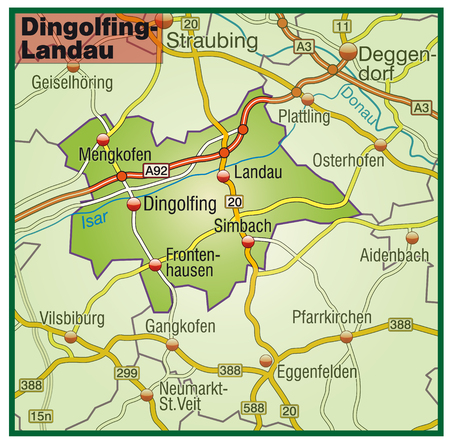 geographically: Map of dingolfing-landau with highways   Illustration
