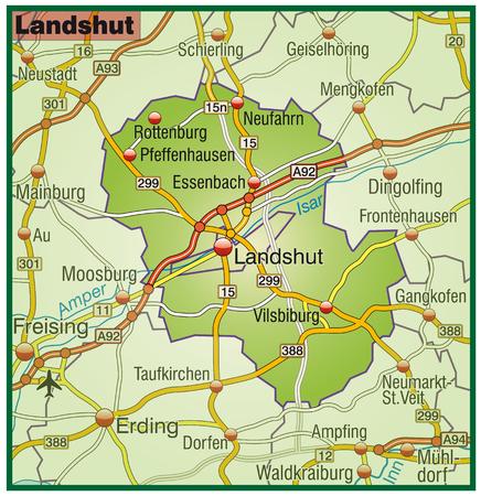 landshut: Map of landshut with highways