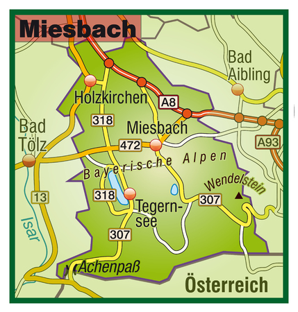 lake district: Map of miesbach with highways