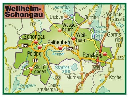 federal district: Map of Weilheim Schongau with highways