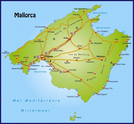 Map of mallorca with highways   Vector