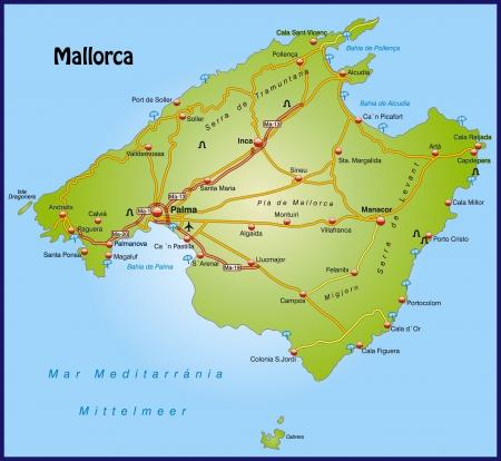 majorca: Map of mallorca with highways   Illustration