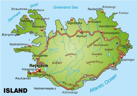 Kaart van IJsland met snelwegen
