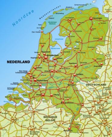 the netherlands: Kaart van Nederland met snelwegen Stock Illustratie
