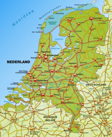 Map of Netherlands with highways   Illustration