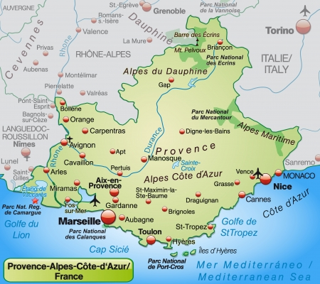 Map of Provence-Alpes-Cote d Azur as an overview map in pastel green