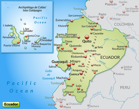 Map Of Ecuador As An Overview Map In Pastel Orange Royalty Free