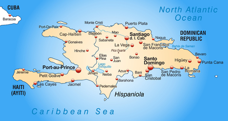 Map of hispaniola as an overview map in pastel orange Vector